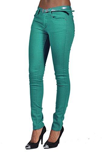 Cest Toi Stretch Denim Belted 5 Pocket Solid Colored Jade High Fashion (Belted Five Pocket Jeans)