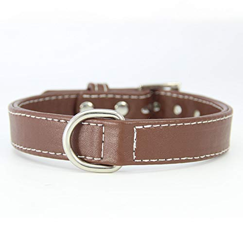 Brown,2.0×30-36cm Pet Online Pet Collar pu Leather Simple Adjustable Dog Collar,Brown,2.0×30-36cm