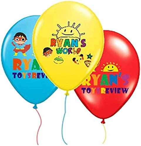 """12x12"""" Ryan's World Balloons Latex For Birthday Party Loot Bags Toy Review"""