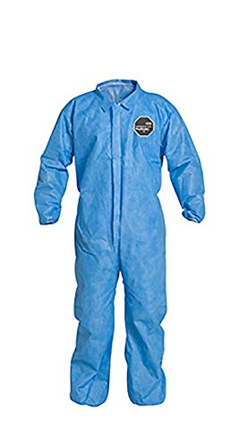 DuPont ProShield 10 PB125S Protective Coverall with Serged Seams, Disposable, Elastic Cuff and Ankles, 2X-Large, Blue (Pack of 25) ()