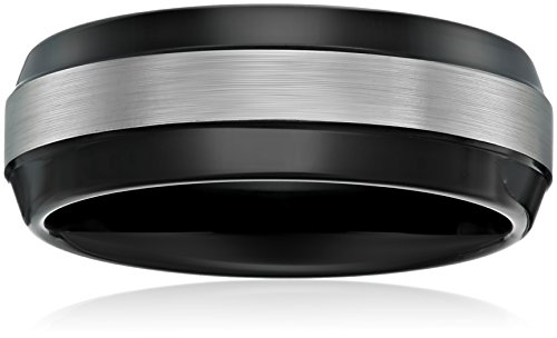 Sapphire Tungsten 8mm Black Finish Two-Tone Comfort Fit Wedding Bands Rings for Men, Size 9.5