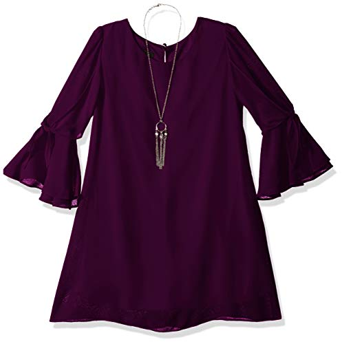 Girls Dresses With Sleeves (Amy Byer Girls' Big Tie Sleeve Sheath Dress and Necklace, Vibrant Beet,)