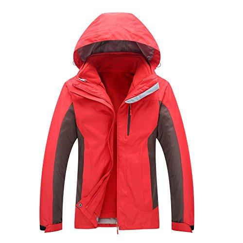 Women Men Windproof Sleeves Zipper Jacket DYF Hat Solid W Red Coat L Color Long 15xwA