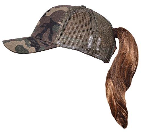 Beurlike Ponytail Baseball Cap High Bun Ponycap Adjustable Mesh Trucker Hats (Camo)