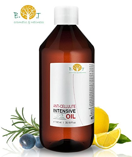 Olio Intensivo Anti cellulite Dimagrante 100% Naturale con Oli essenziali di limone, rosmarino, cannella, basilico e ginepro 500 ml - Penetra 6 volte più in profondità Made in France