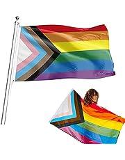 MOGADEE Regenboog vlag, LGBT vlag, Gay Pride Regenboog vlag, The Flag Joint-Pride vlag, 150 x 90 cm, Diverse Indoor en Outdoor Regenboog vlag, Weerbestendig Gay Pride Flag met messing ogen (LGBTQ)