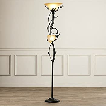 72-Inch Elegant 2 Lights Torchiere Floor Lamp with Amber Glass Shade and Leaf Pattern Stand, Oil Rubbed Bronze Finish