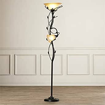 72 Inch Elegant 2 Lights Torchiere Floor Lamp With Amber