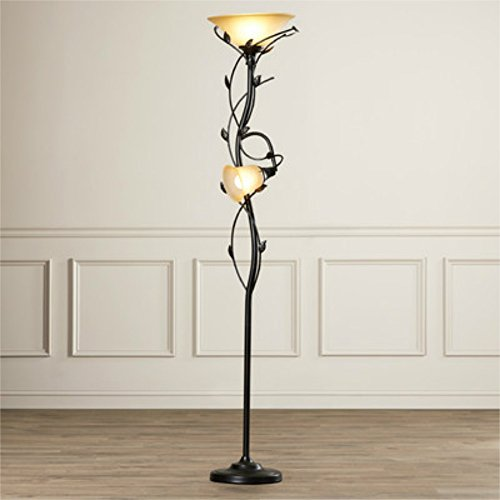 72-Inch Elegant 2 Lights Torchiere Floor Lamp with - Leaf Floor Lamp