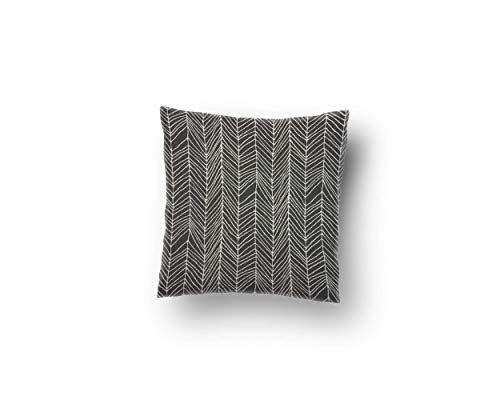 Canvas Square Throw Pillow Case in Decatur Onyx (Multiple Sizes -