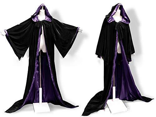Fenghuavip Colorful Lining Velvet Wedding Hooded Cloaks Black Wicca Capes Bell Sleeves(Black Purple S) ()