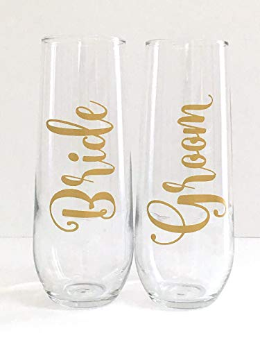 - Bride and Groom Wedding Champagne Flute Set of 2