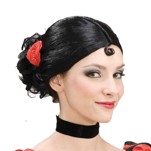 Forum Novelties Women's Spanish Senorita Costume Wig, Black, One Size -