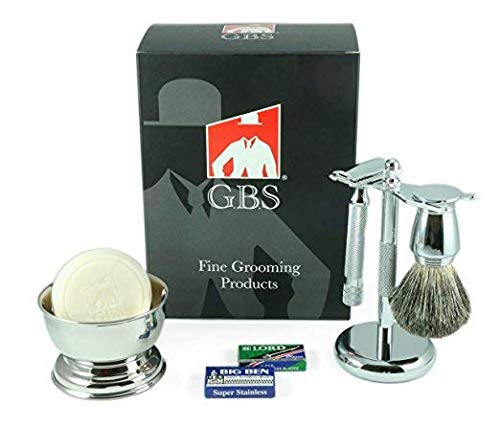 Shaving Gift Set Comes with Gift Box Merkur Safety Razor (Barber Pole Handle 38001 (38c)) bowl, GBS Shaving Soap, Badger Brush, Stand and Safety Razor + Blades