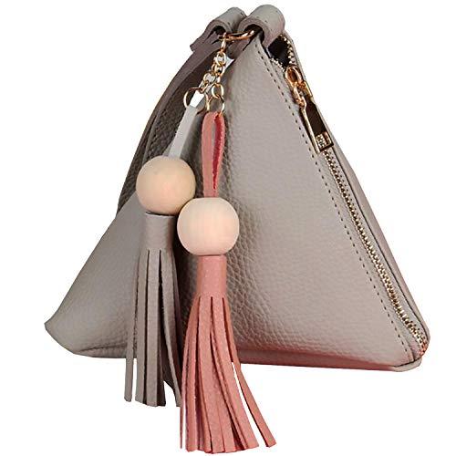Women's Wristlet Handbags White Leather Clutch Wallet Triangle Shape Evening Bag Wristlets