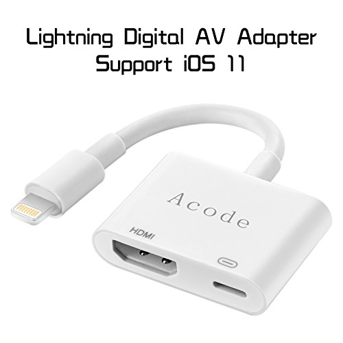 Lightning to HDMI Adapter, Acode Lightning Digital AV Adapter with Lightning Charging Port for iPhone, iPad and iPod Models on 1080P HDTV Display Monitor Projector ()