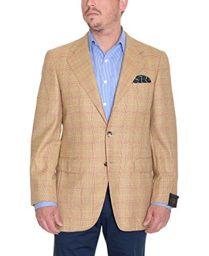 Sartoria Partenopea 40R 50 Tan Glen Plaid 3-Roll-2 Half Lined Wool Sportcoat