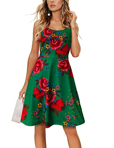 FANVOOK Women's Summer Floral Sundress Adjustable Spaghetti Strappy Dresses (Green Floral, Small)