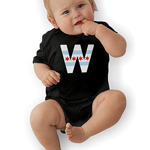 Chicago City Flag W Funny Baby Onesies Novelty Toddler Infant Bodysuits Short Sleeve 0-3M Black