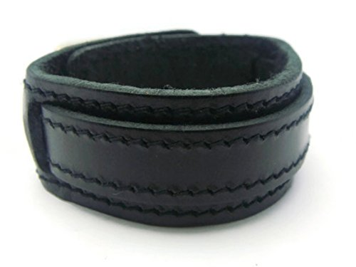 [APECTO Jewelry Quality Black Leather Wristband Cuff Bracelet, Bangle Leather Bracelet Buckle, MB22] (Patrick Starfish Costumes)