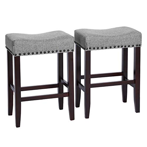 SONGMICS Set of 2 Bar Counter Stool, Well-Padded Dining Chair, Solid Wood Legs, Cotton-Linen Fabric, Seat Height 26.4 Inches, with Footrest, Light Gray ULDC38GYX (Bench Upholstered Stool)