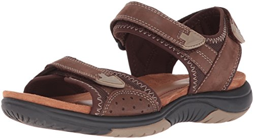 Rockport Women's Franklin Three Strap Sport Sandal, Brown, 8 M US (Strap Brandy)