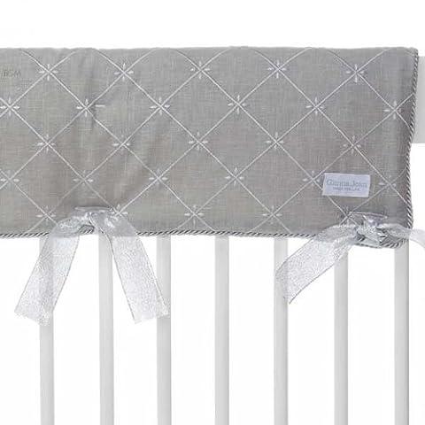 Glenna Jean Starlight Convertible Crib Rail Protector, Blue/White/Grey/Silver Metallic - Glenna Jean Baby Crib