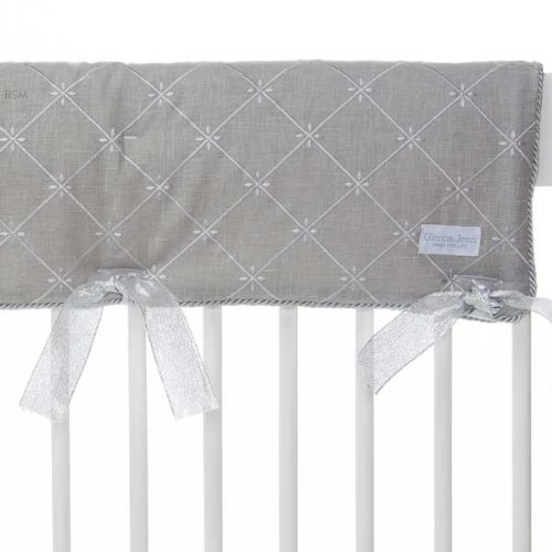Glenna Jean Set of 2 Starlight Convertible Crib Rail Protector, Blue/White/Grey/Silver Metallic