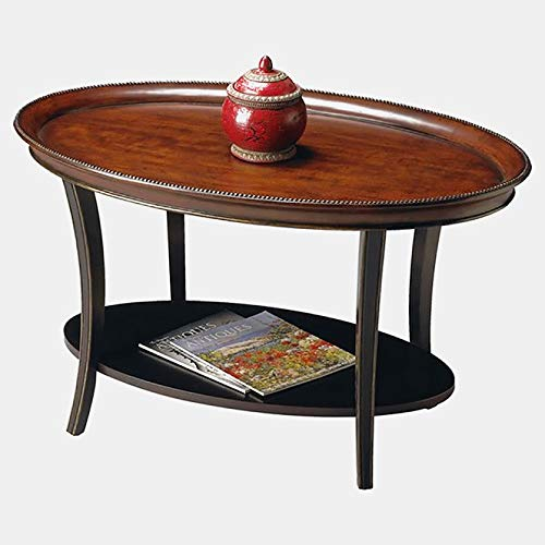 (Wood Coffee Table with Distressed Finish - Oval Coffee Table with Double Tiered Design - Cafe Noir)
