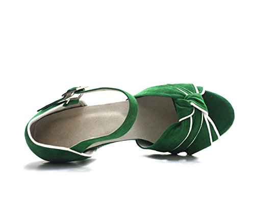 Ballo Scarpe Sandalo Womens Latino Tacco Danza Alto Scarpe Da Wymname Moderna Verde Da q6HTwt