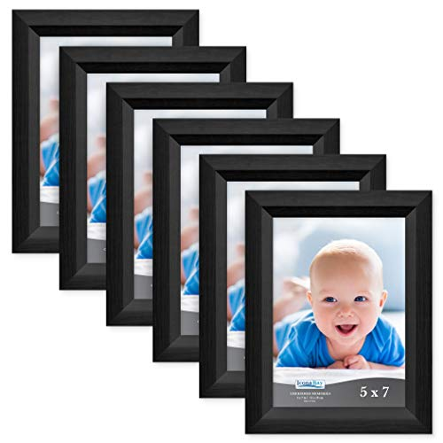 Icona Bay 5x7 Picture Frame (6 Pack, Obsidian Black Wood Finish), Black Photo Frame 5 x 7, Composite Wood Frame for Walls or Tables, Set of 6 Cherished Memories -