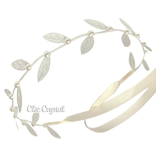 Ivory Leaf Wrap with Pearls for Girls Any Age (ivory (Girls Ivory Pearl)