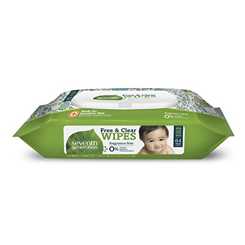 Seventh Generation Thick & Strong Free and Clear Baby Wipes, with Flip Top Dispenser 64 Count (Packaging May Vary)