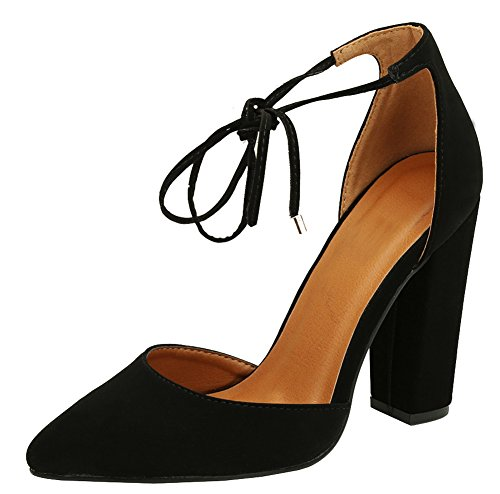 1d1adc1076b Cambridge Select Women s D Orsay Closed Pointed Toe Ankle Tie Chunky Block  Heel Pump (