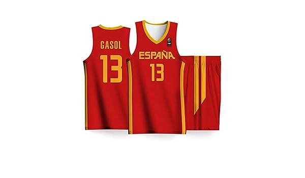 lcc Copa del Mundo Masculina 2019 España Selección Nacional De Baloncesto Masculino Nº 13 Marc Gasol Juego De Baloncesto Jersey Ropa Deportiva Masculina,Rojo,S:170cm/55~70kg: Amazon.es: Hogar