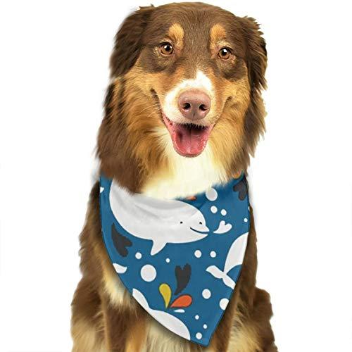 - ROCKSKY Dog Bandana, Beluga Whale Wedding Dog Bandana Cute Neck Tie Scarf, Triangle Scarf Bibs Hankie Great Gift for Small & Medium & Large Pet Dog Cat - Easy Wash