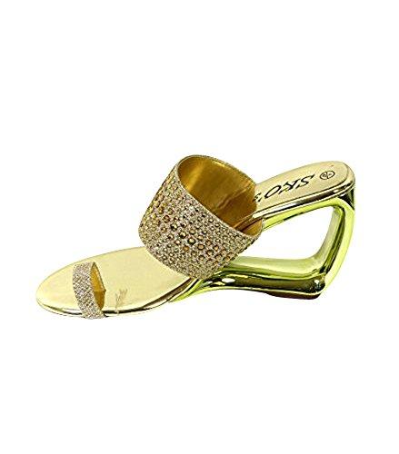 Damen Sandalen/Schlupfschuhe, Diamantoptik, mit Zehensteg, niedriger Keilabsatz, erhältlich in Gr. 36/37/38/39/40/41 Gold (m336-1)