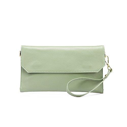 Realer Niñas de cuero genuino Cruz-Cuerpo Bolso Cartera de pulsera iPhone Bolso de hombro Bolso Cartera Verde