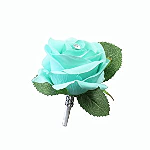 Angel Isabella Large size Boutonniere-Nice hand-crafted medium open keepsake artificial flower-Pearl headed Pin included (Mint Green) 41