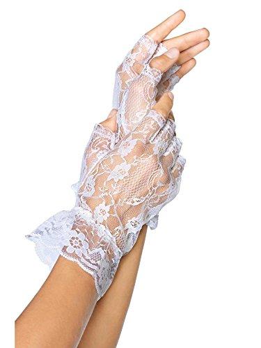 (Lace Fingerless Wrist Ruffle Gloves (One Size, Black))