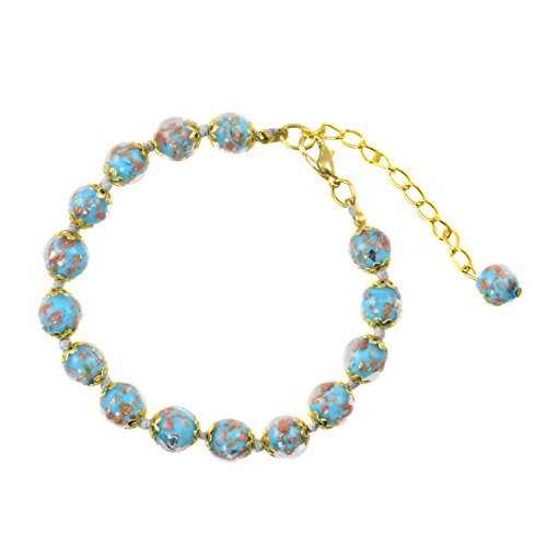 Genuine Venice Murano Sommerso Aventurina Glass Bead Strand Bracelet in Sky Blue, 8+1 Extender