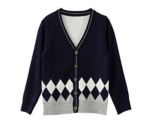 Navy Blue Argyle Sweater - 6