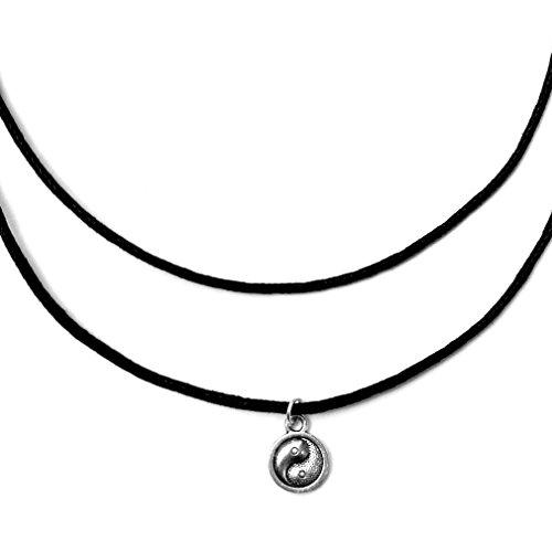 Double Strand Yin Yang Charm Choker Necklace