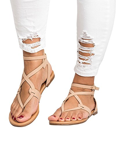 ThusFar Women Casual Clip Toe Flat Thong Sandals Strappy Ankle Strap Buckle Leather Sandals Shoes Khaki