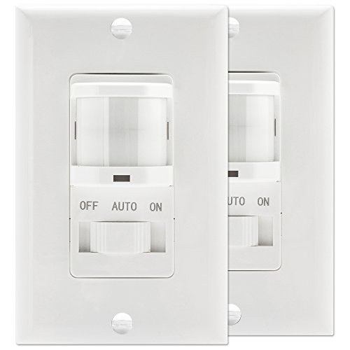 TOPGREENER TSOS5-W In-Wall PIR Sensor Switch, Occupancy Sensor Switch, Motion Sensor Switch, On/Off Override, 500W, Single Pole, NEUTRAL WIRE REQUIRED, White, 2 Pack (Single Sensor Pole)