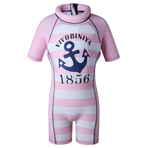 Kids Swimsuits Floatation Swimsuits One-Piece Swimsuits with Sun Hats (s(31.4in-35.4in Height), Pink(not hat))