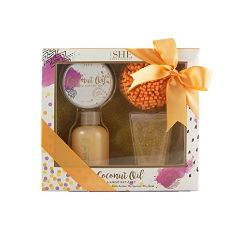OM She Aromatherapy Coconut Oil Pamper Set - Includes Shower Gel, Body Souffle, Body and EVA Sponge - Vegan Friendly - Paraben Free – Sulfate Free – Cruelty Free – Made in Australia