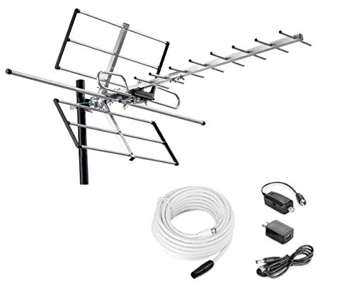 McDuory Digital Outdoor HDTV Antenna with Built-in Amplifier, 120 Miles Range, 40 Feet Long RG6 Coax Cable, Tools Free Installation, VHF/UHF