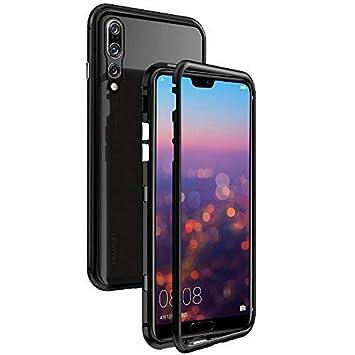 CaseLover-es Funda Huawei P20 Pro, Carcasa Huawei P20 Pro Metal Aluminio Adsorción Magnética Vidrio Templado Rígida Carcasa Glass Back Case Cover para ...