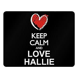 Idakoos Keep calm and love Hallie chalk style - Female Names - Plastic Acrylic